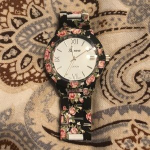 Accessories - Black and pink floral watch. Worn once.
